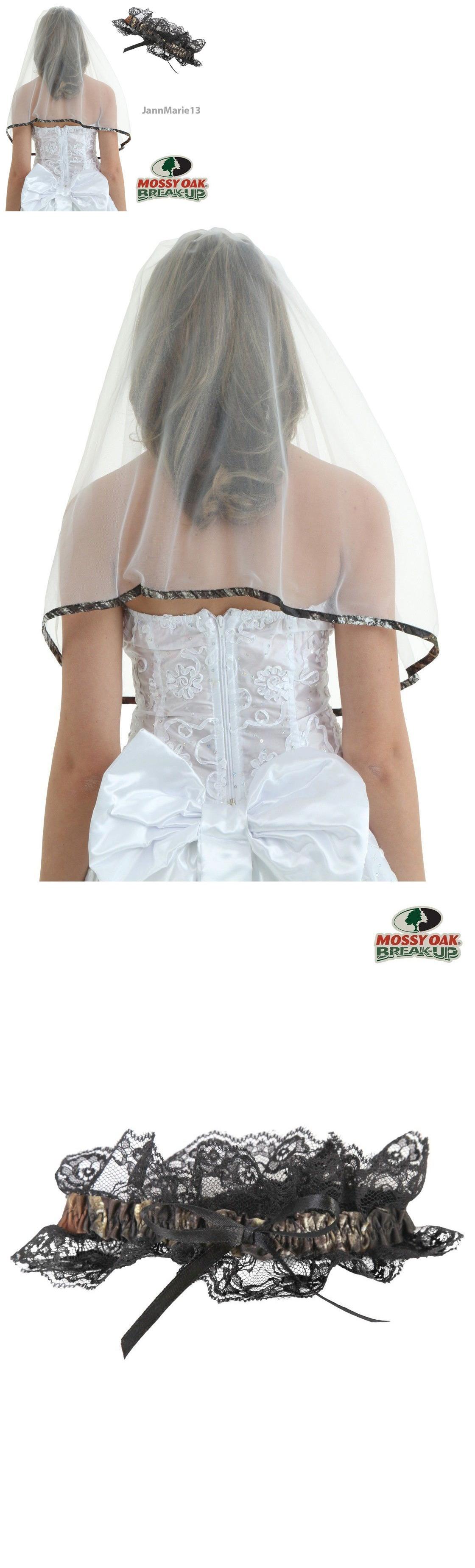 Wedding dresses camo  Veils  New Camo Wedding Bridal Veil And Garter Set Hunting