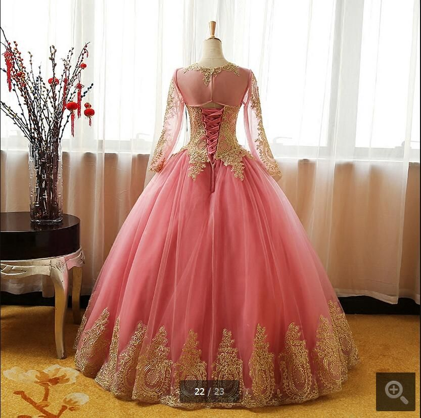 Real picture pink ball gown gold lace appliques prom dresses hollow ...