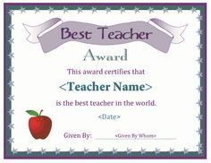A Free Printable Best Teacher Award Certificate Downloads In Pdf And Doc Formats Available At Http Teacher Certification Best Teacher Certificate Templates
