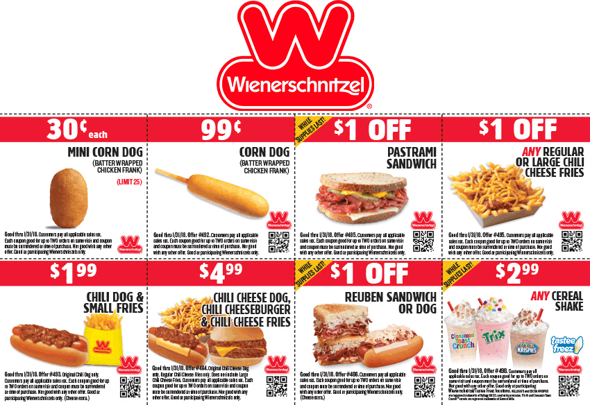 image about Printable Wienerschnitzel Coupons named Pinned January 30th: $2 chili canine + fries even further at