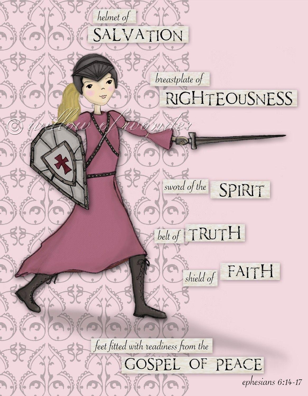 pink warrior with blonde hair scripture art print armor