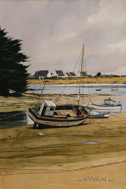 Aquarelle dessin paysage marine voilier pin up chaton bretagne peinture aquarelle pinterest - Dessins de voiliers ...