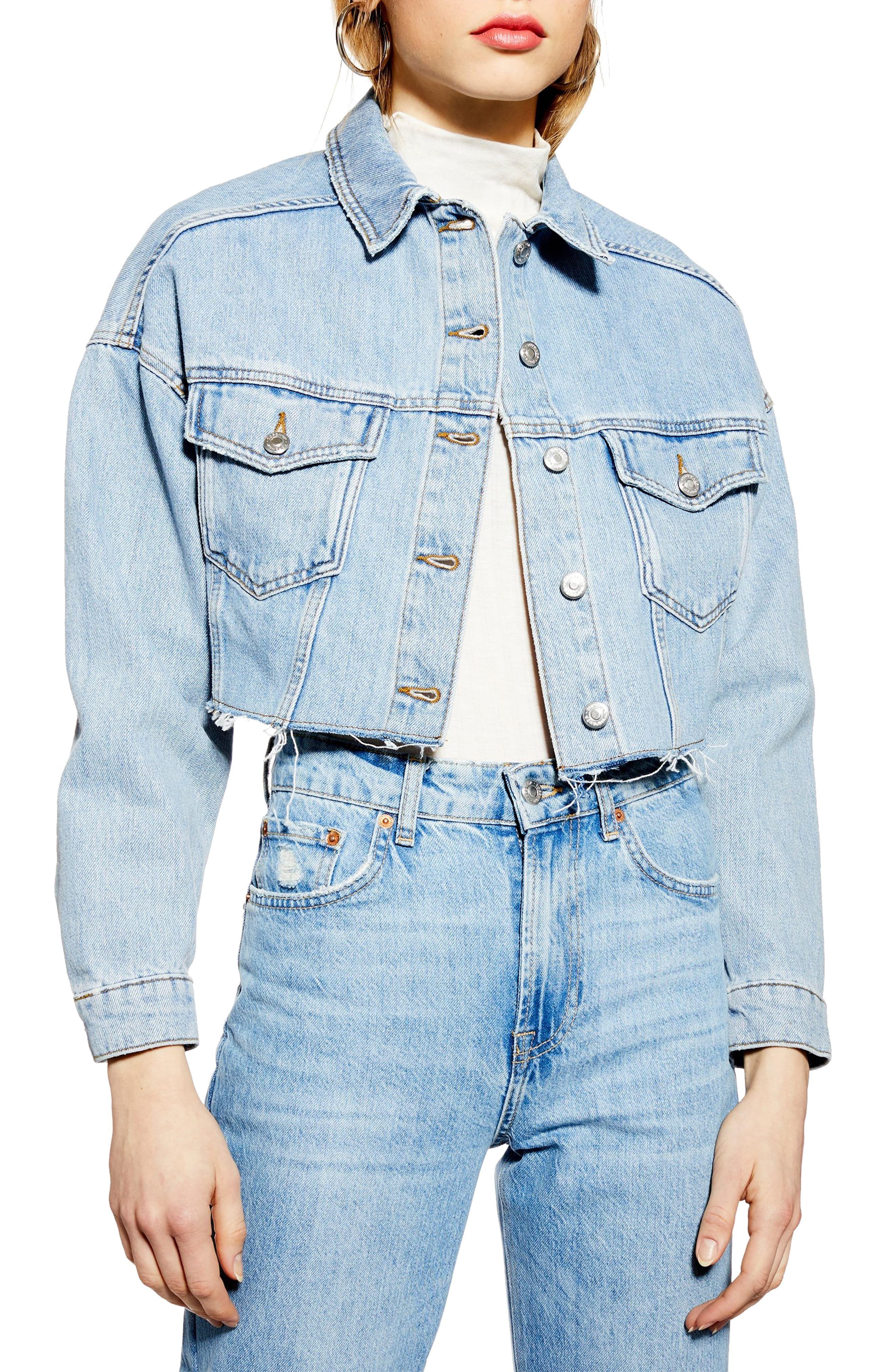 Topshop Cropped Denim Jacket Nordstrom In 2020 Denim Jacket Trend Cropped Denim Jacket Girls Bomber Jacket
