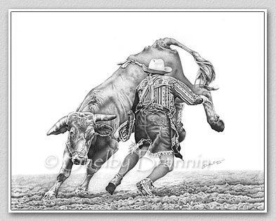 Bull Riding Drawings Rodeo Bullfighter Thumbnail Image