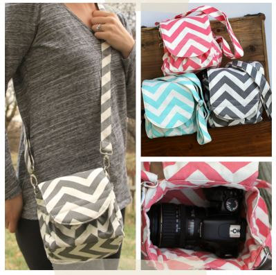 Monogrammed Dslr C Pink Chevron Camera Bag Cute But No Spot For Extra Lenses