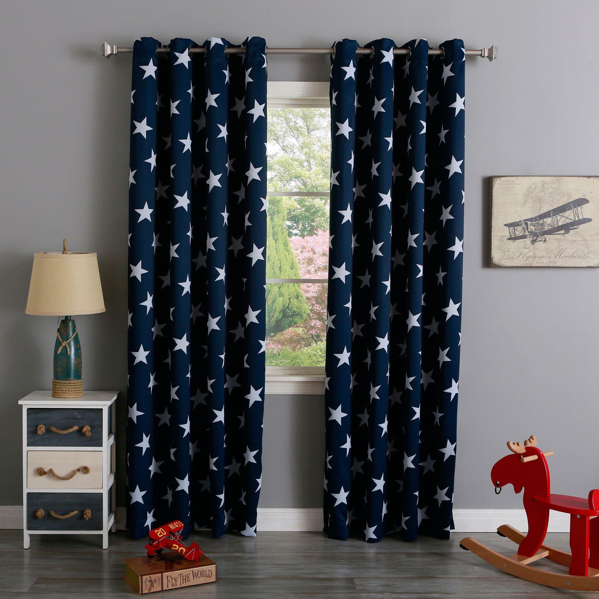 Aurora Home Room Darkening Big Star Print Silver Grommet Top Curtain