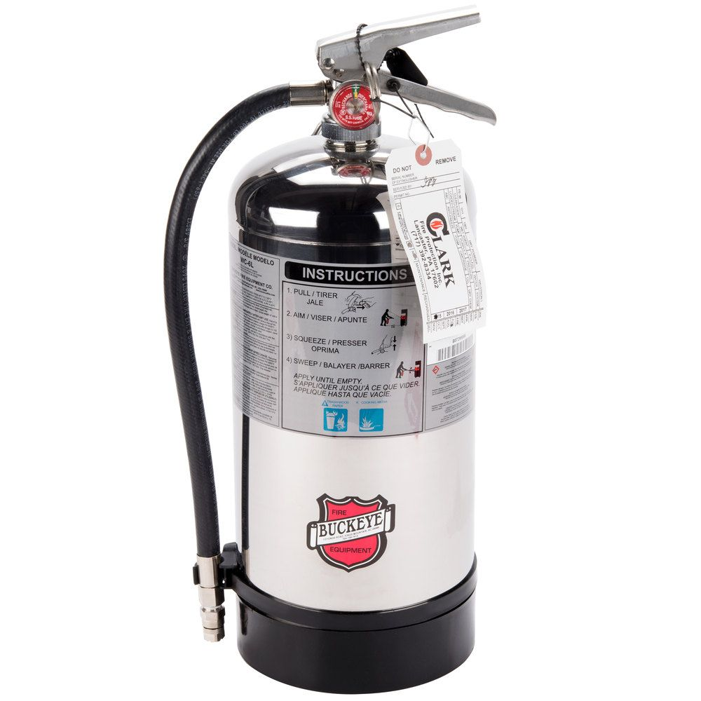 Buckeye 6 Liter Class K Wet Chemical Fire Extinguisher Tagged -  Rechargeable UL Rating 1A:K