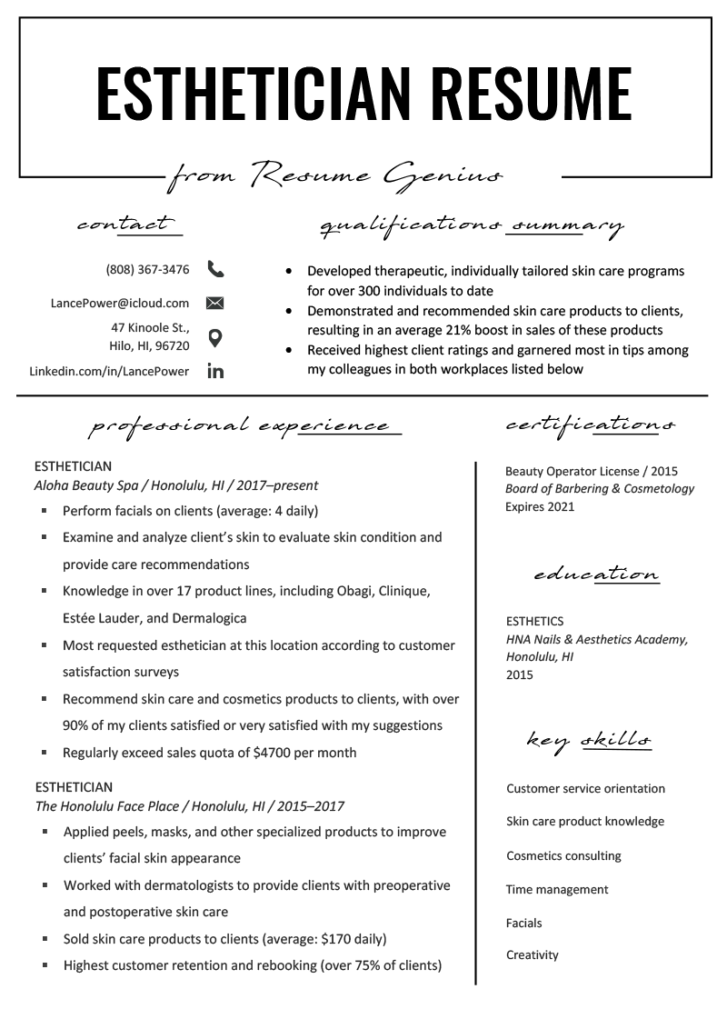 Esthetician Resume Example & Writing Tips Resume Genius