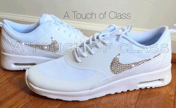 Women's Bling Nike Air Max Thea White Wedding Running