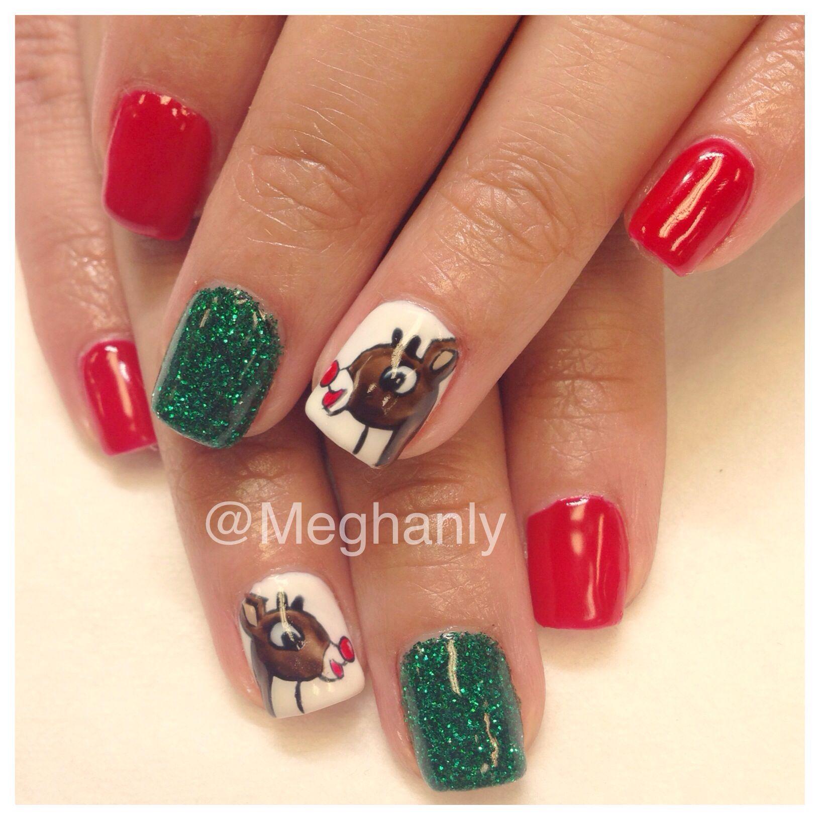 Rudolph nails winter nail art Christmas nails   Nails by me ...