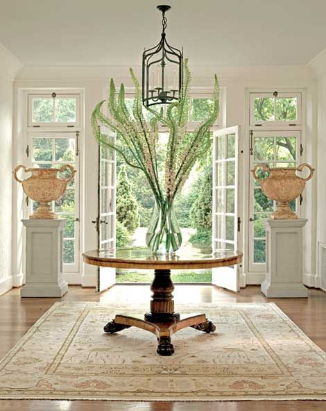 Dramatic And Airy Foyer Dreamy Oriental Rug Pedestal Table Lantern Pendant Round Foyer Table Foyer Decorating Entrance Foyer