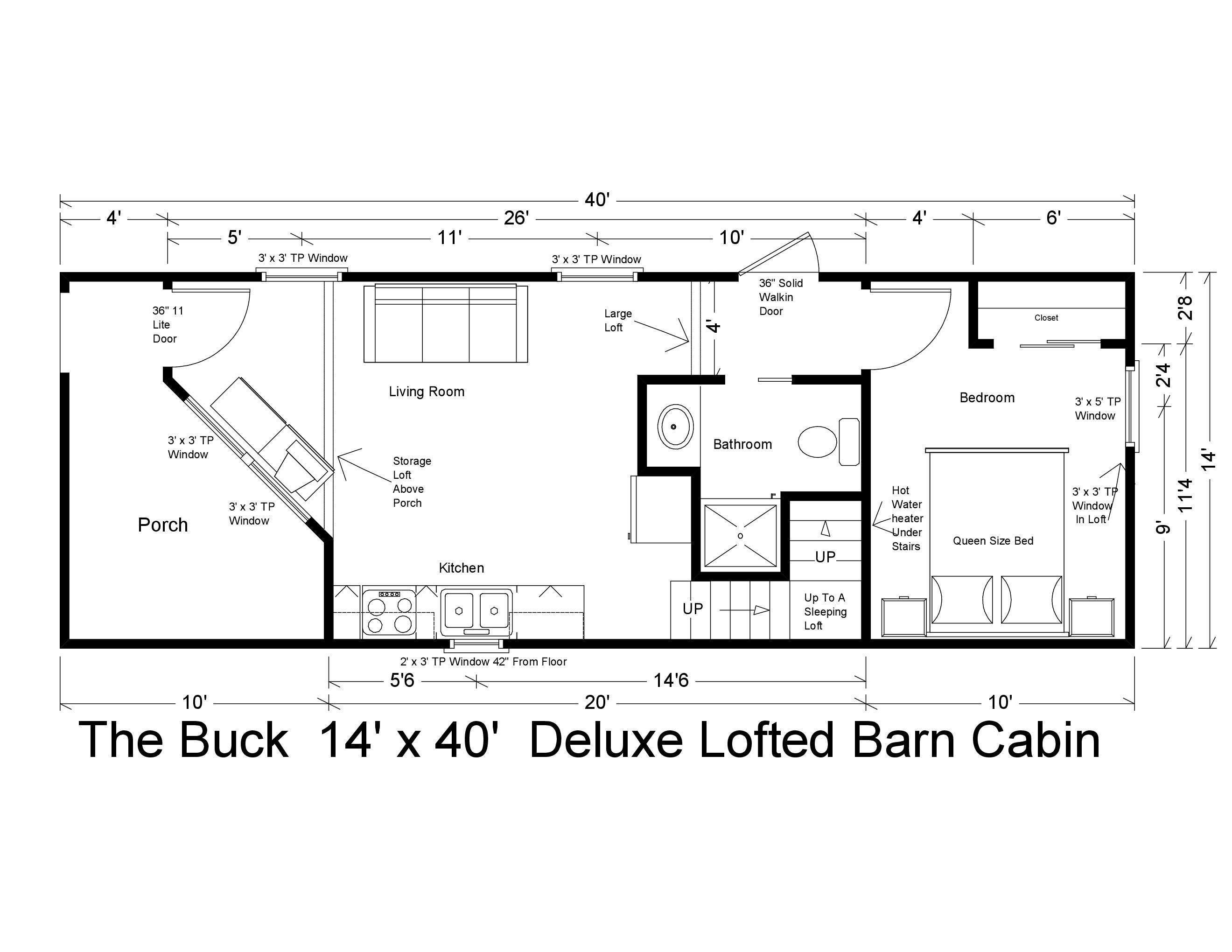 14 X 40 Deluxe Lofted Barn Cabin 560 Sq Ft Includes All Appliances And You Can Customize All Finishes Lofted Barn Cabin Cabin Floor Plans Small Cabin Plans