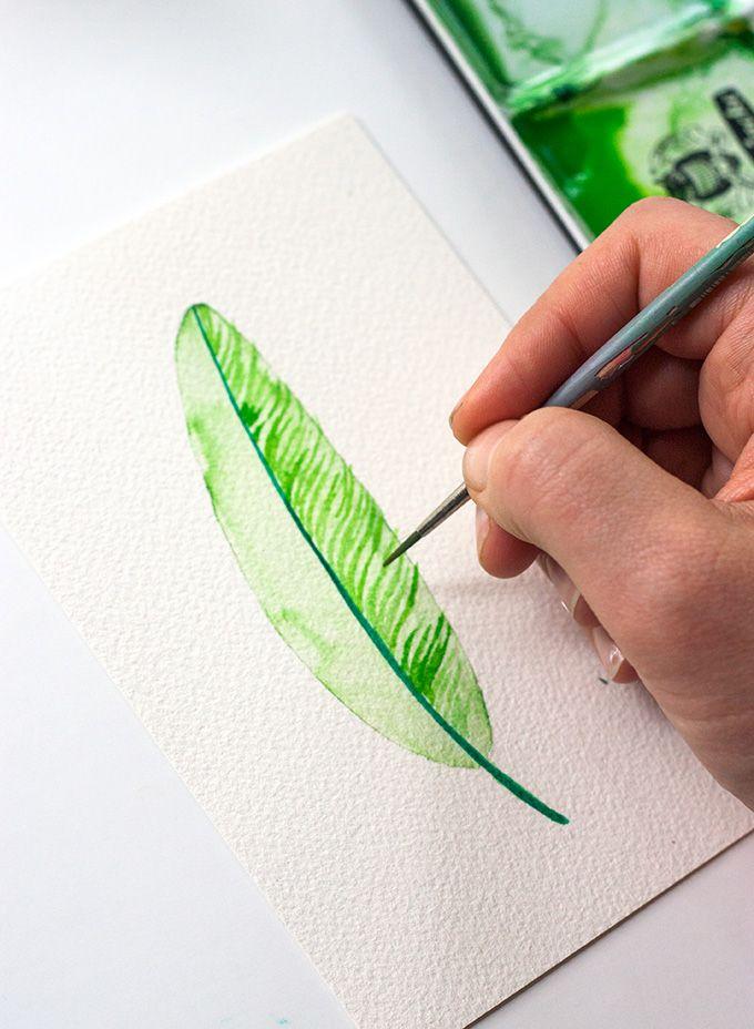 Plume Verte En Aquarelle Dessin Crayons Aquarelles Plume