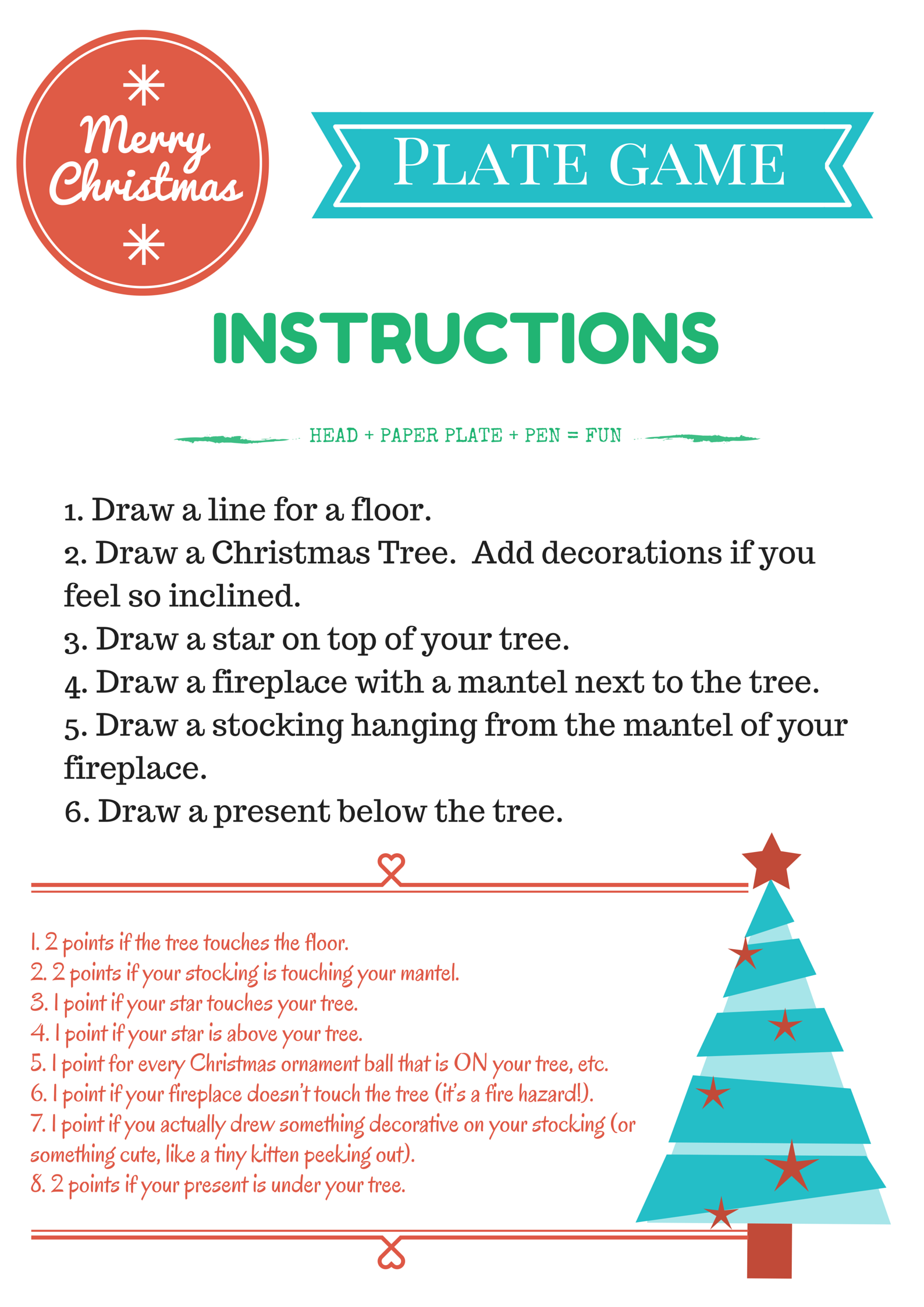 Christmas Plate Game Instructions And Points Christmas Paper Plates Christmas Plates Christmas Party Games