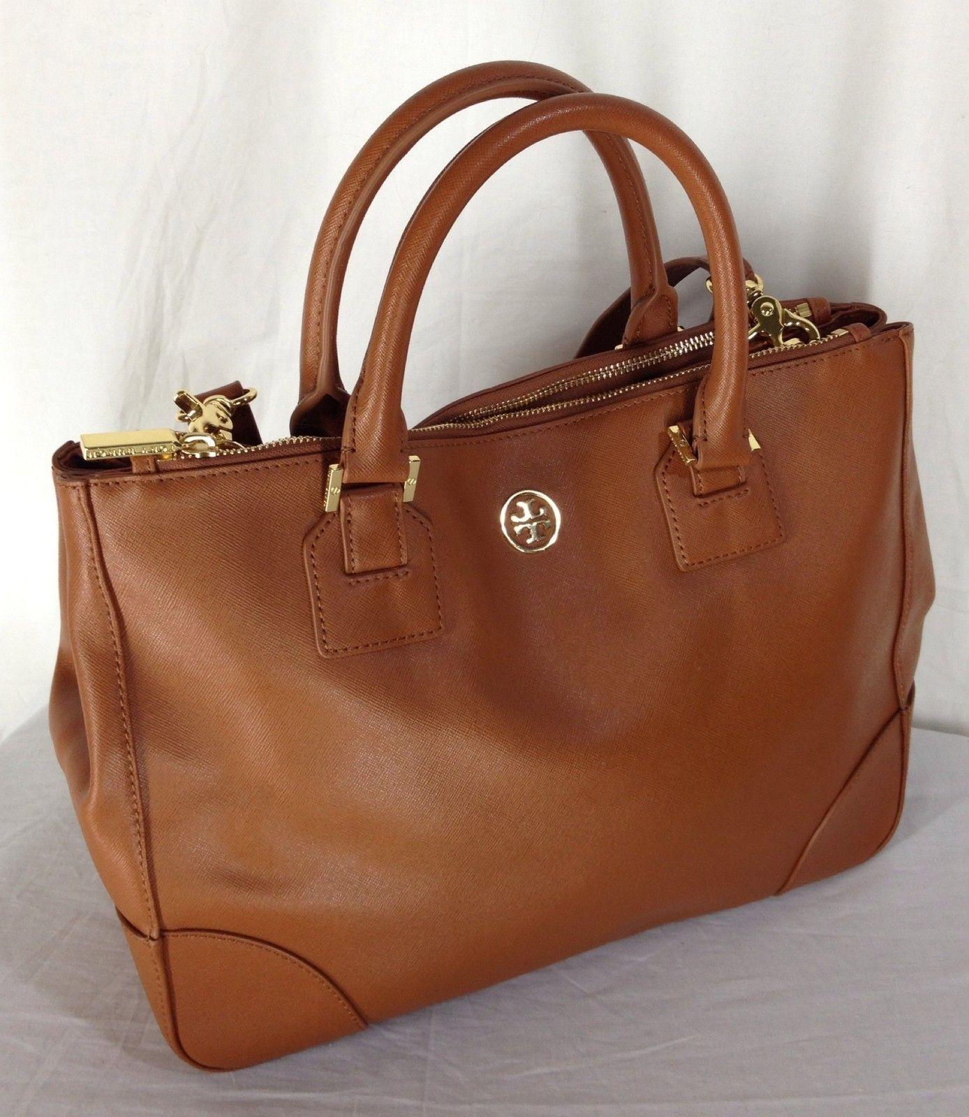 83eb106432 Tory Burch Robinson Double Zip Tote Saffiano Leather Luggage New | eBay