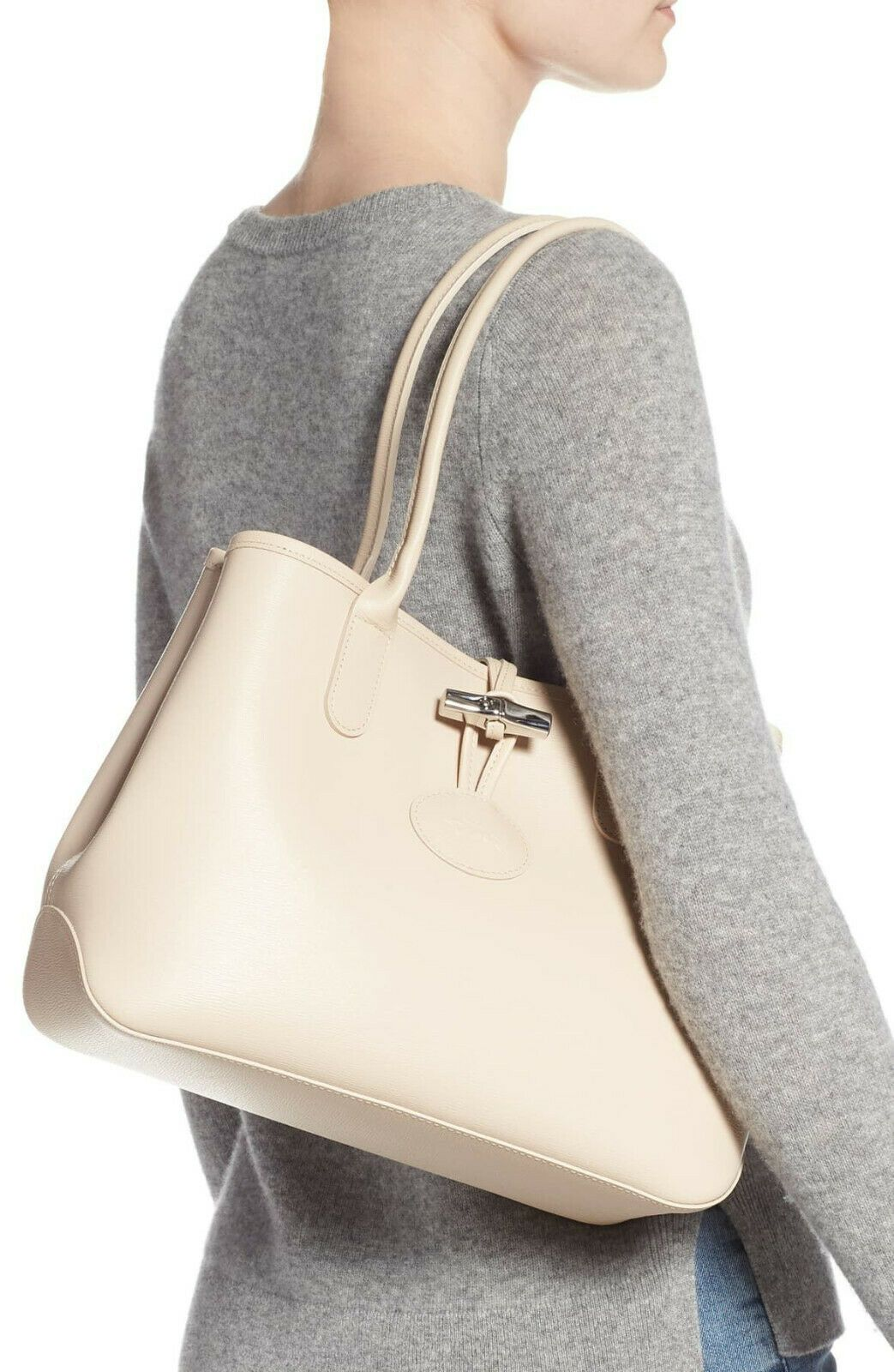 NWT LONGCHAMP Roseau Small Leather Shoulder Tote IVORY BEIGE ...