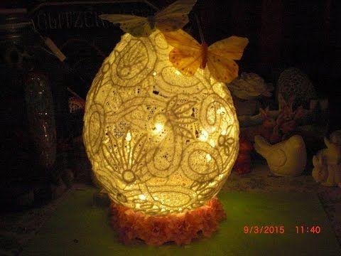 Diy Xxl Osterei Aus Spitze Lampen Ei Zu Ostern Aus Spitze Youtube Christmas Bulbs Novelty Lamp Paper Lamp