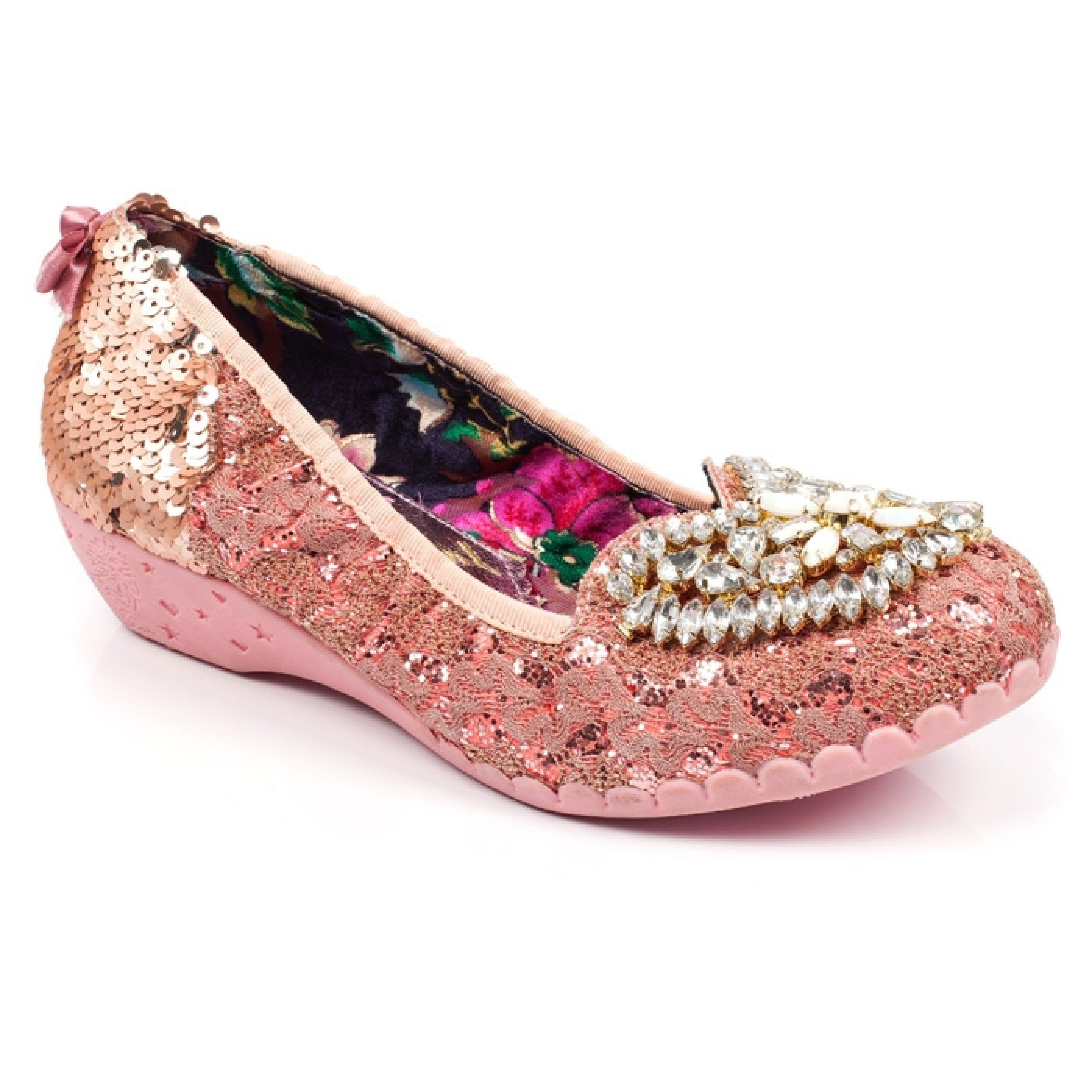 these gorgeous bejewelled flats are the perfect princess slip on. Featuring  a bejewelled embellished love heart with a lace and glitter upper and a  sequin ...