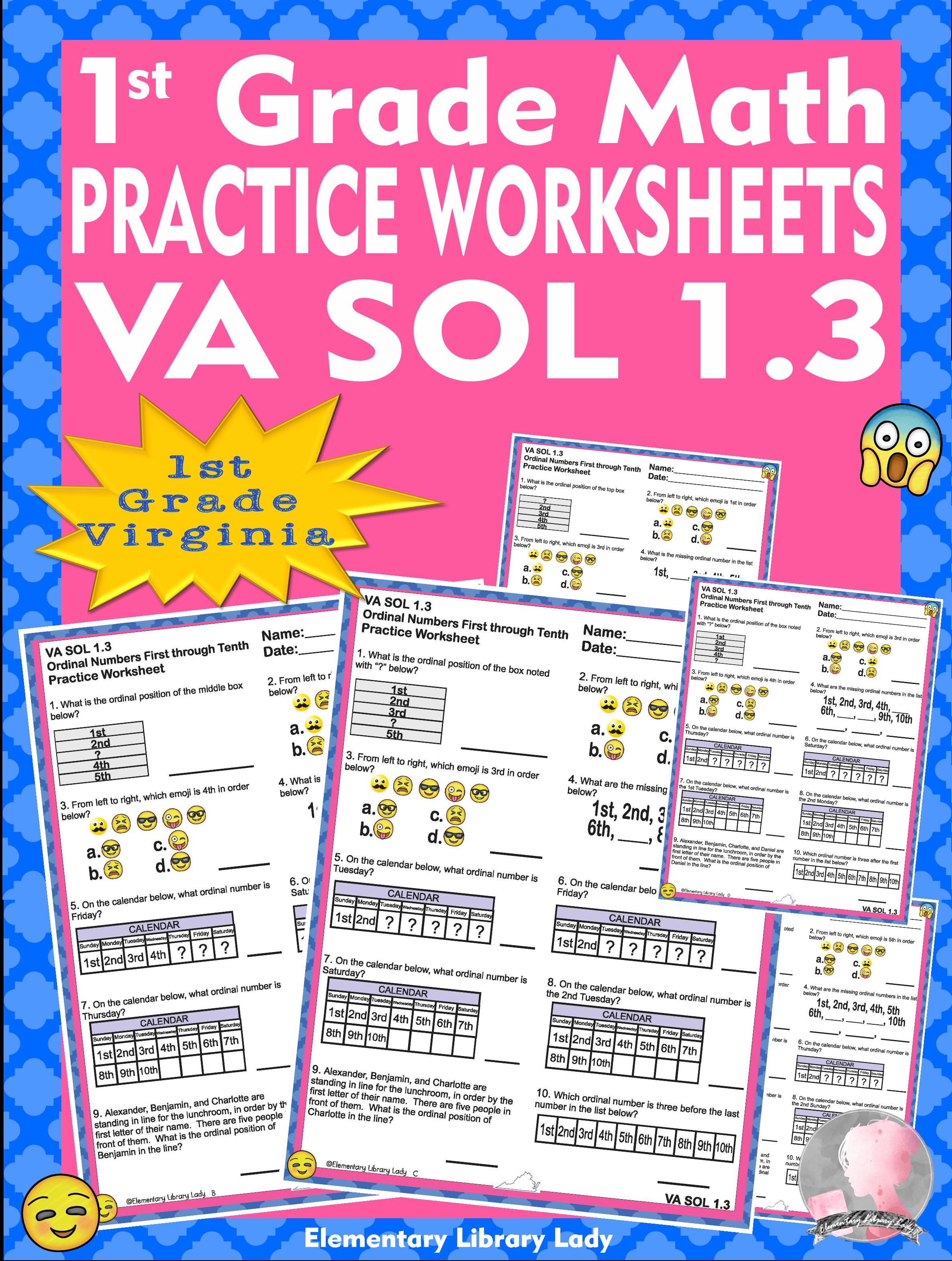 Math Va Sol 1 3 Virginia 1st Grade Practice Worksheets