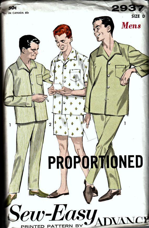 1960s Men's Pajamas Pattern  Advance Sew-Easy Printed Pattern 2937  Vintage Men's Pajama Pattern  UNCUT, Factory-Folded  Size 42-44