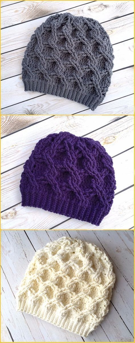 Crochet Chain Link Slouch Hat Paid Pattern - Crochet Cable Hat ...
