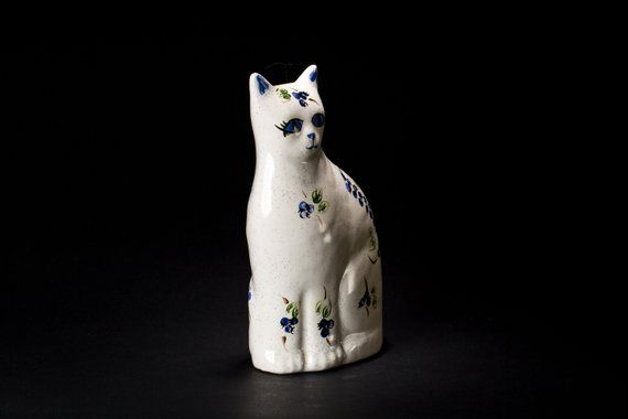 Porcelain Cat Figurine Decor Lover Gift For Mom Birthday Grandma