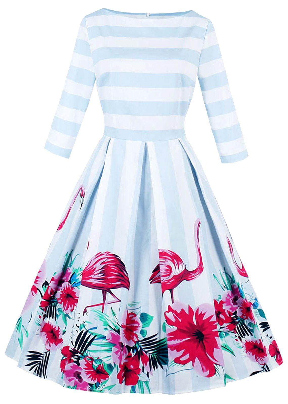 8417a02ab41 Plus Size Boat Neck Striped Floral Flamingo Print Dress