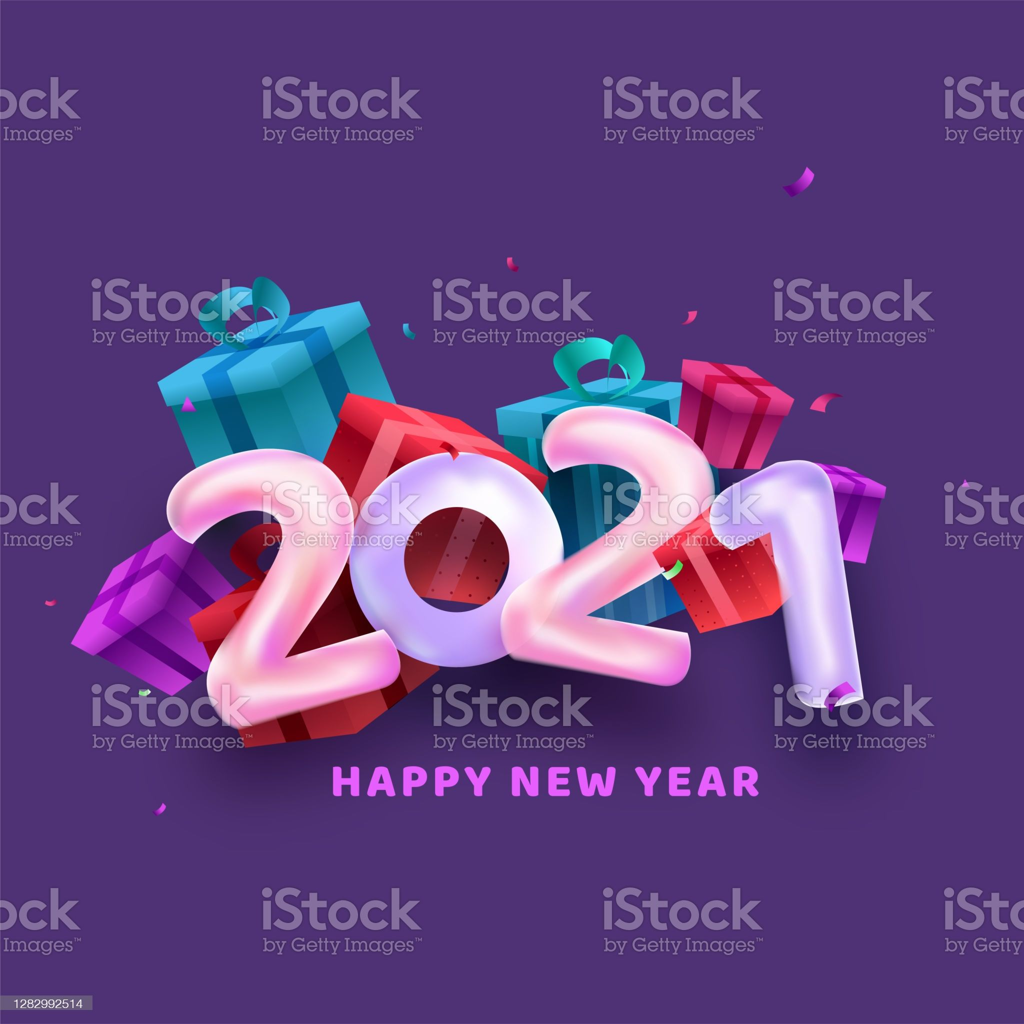 Balloon Number Of 2021 With 3d Gift Boxes On Purple Background For Number Balloons Happy New Year Vector Purple Backgrounds 2021 new year balloons and gift