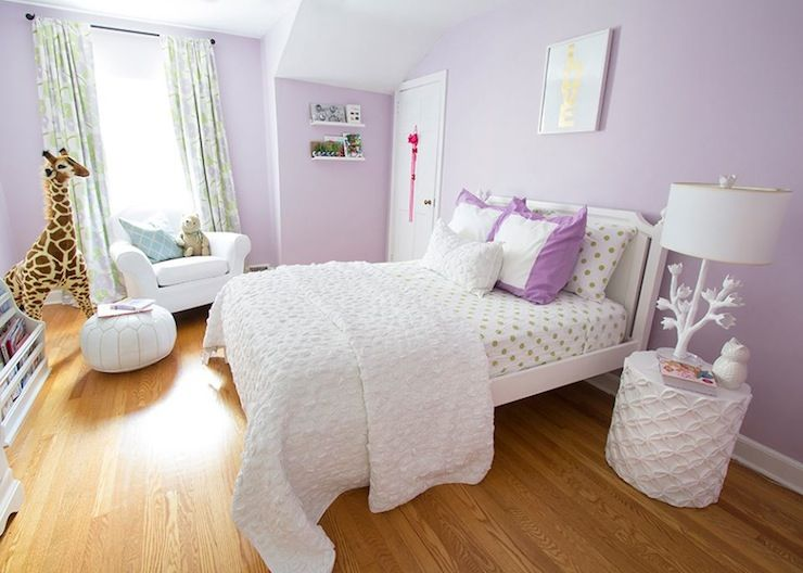 Purple Girl S Room With Made By Girl Gold Love Print On Purple