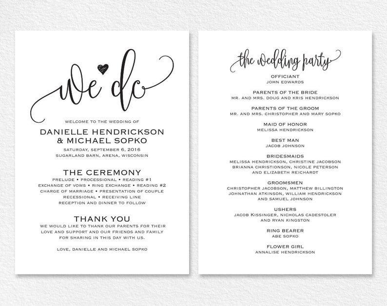Classic Simple Gold Script Wedding Day Program  5x8 Wedding Program 2-sided