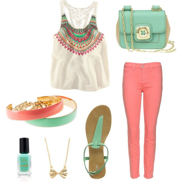 Peach and turquoise ensemble :)