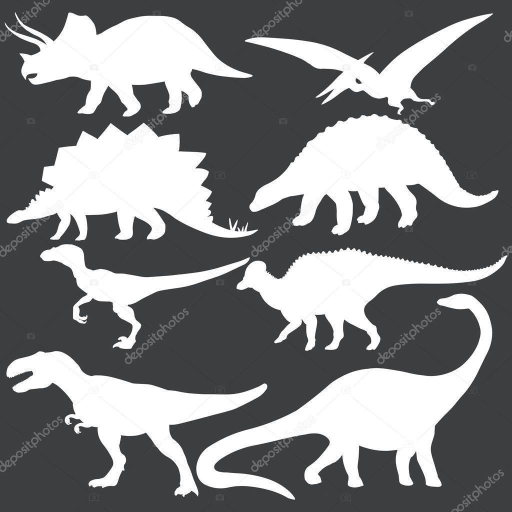 Laden Sie lizenzfreie Vektor-Reihe von weißen Dinosaurier Silhouetten Stockvektoren 38664475 aus Depositphotos' Kollektion von Millionen erstklassiger Stockfotos, Vektorgrafiken und Illustrationen mit hoher Auflösung herunter. #dinosaurillustration