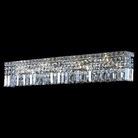 Bathroom Vanity Lights Chrome Finish rectangular with dangling crystals for bathroom mirror | home