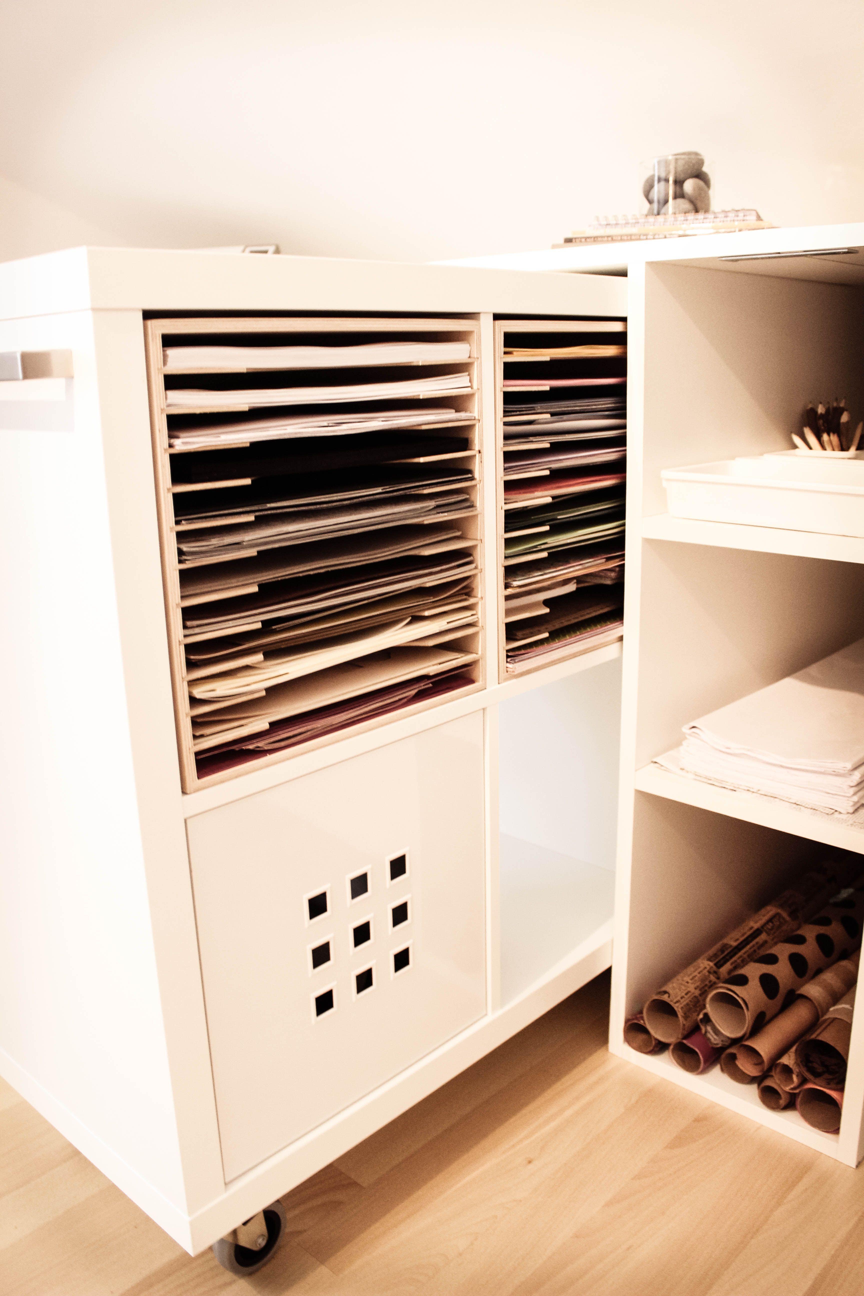 Ikea hack kallax shelf unit mounted on castors with for Ikea paper storage