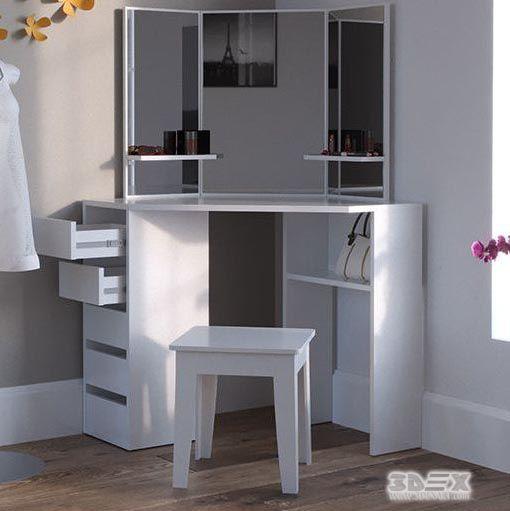 Best White Wooden Corner Dressing Table Designs For Modern 640 x 480