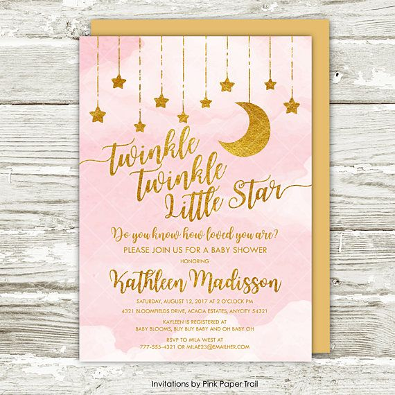 Twinkle Twinkle Little Star Baby Shower Invitation Pink And Gold