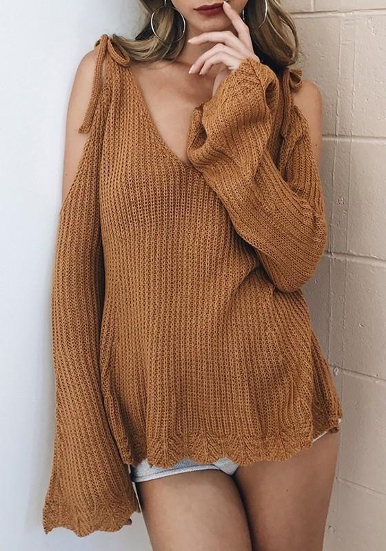 9f73ba1d4 Khaki V-neck Cut Out Off Shoulder Wavy Edge Fashion Pullover Sweater ...