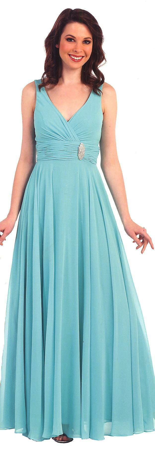 Bridesmaid Dresses Evening Dresses under $100<BR>1376<BR>Long V neckline gown, ruched bodice and waist band with side beaded accent(sizes to 4X)