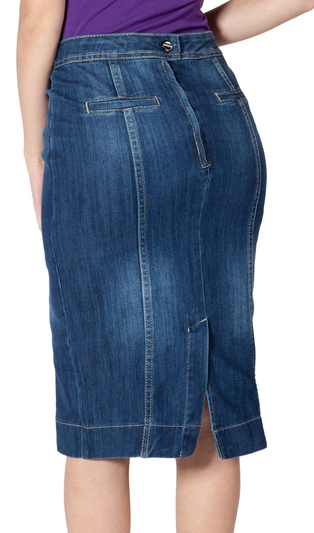 df5c33019e Knee Length Denim Skirt - Plus Size Skirts (16+) available #Denim Skirts  #plussize