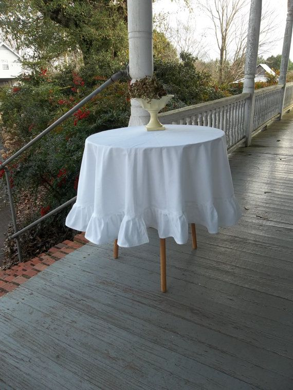 RESERVED White Ruffled Tablecloth Handmade Wedding By Misshettie, $75.00