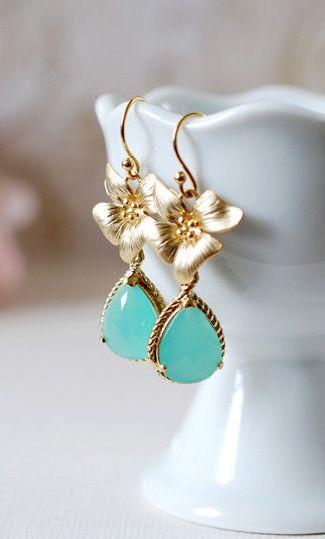 Mint Teardrop and Gold Orchid Flower Earrings