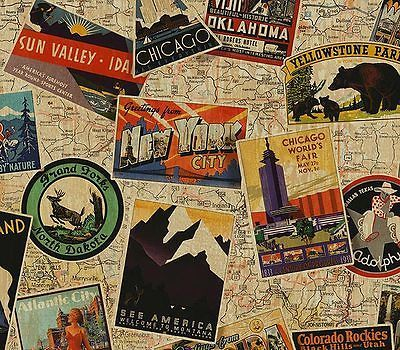 Old Roadmaps And Postcards Etc Used As Wallpaper Not This Busy