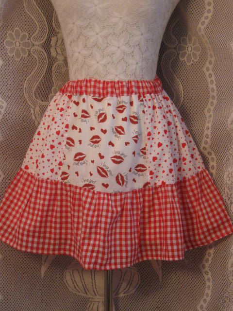 Be My Valentine Tiered Red Check and Heart Skirt Free by HappyRagz