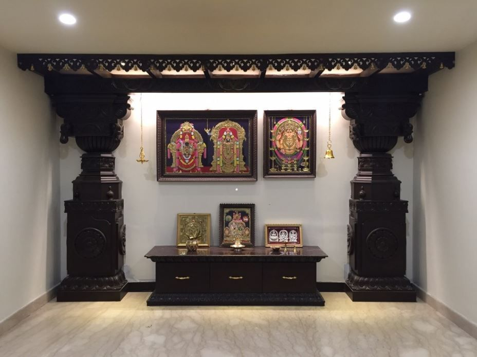 Discover Some Beautifully Done Interior Design For Pooja Room Wall Units You Can Turn Any Wall Of Your Ho Pooja Room Door Design Pooja Rooms Pooja Room Design