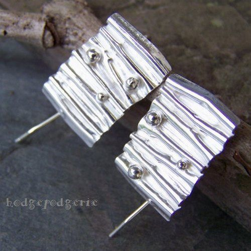 Echoes of Rain - Corrugated Sterling Silver Earrings