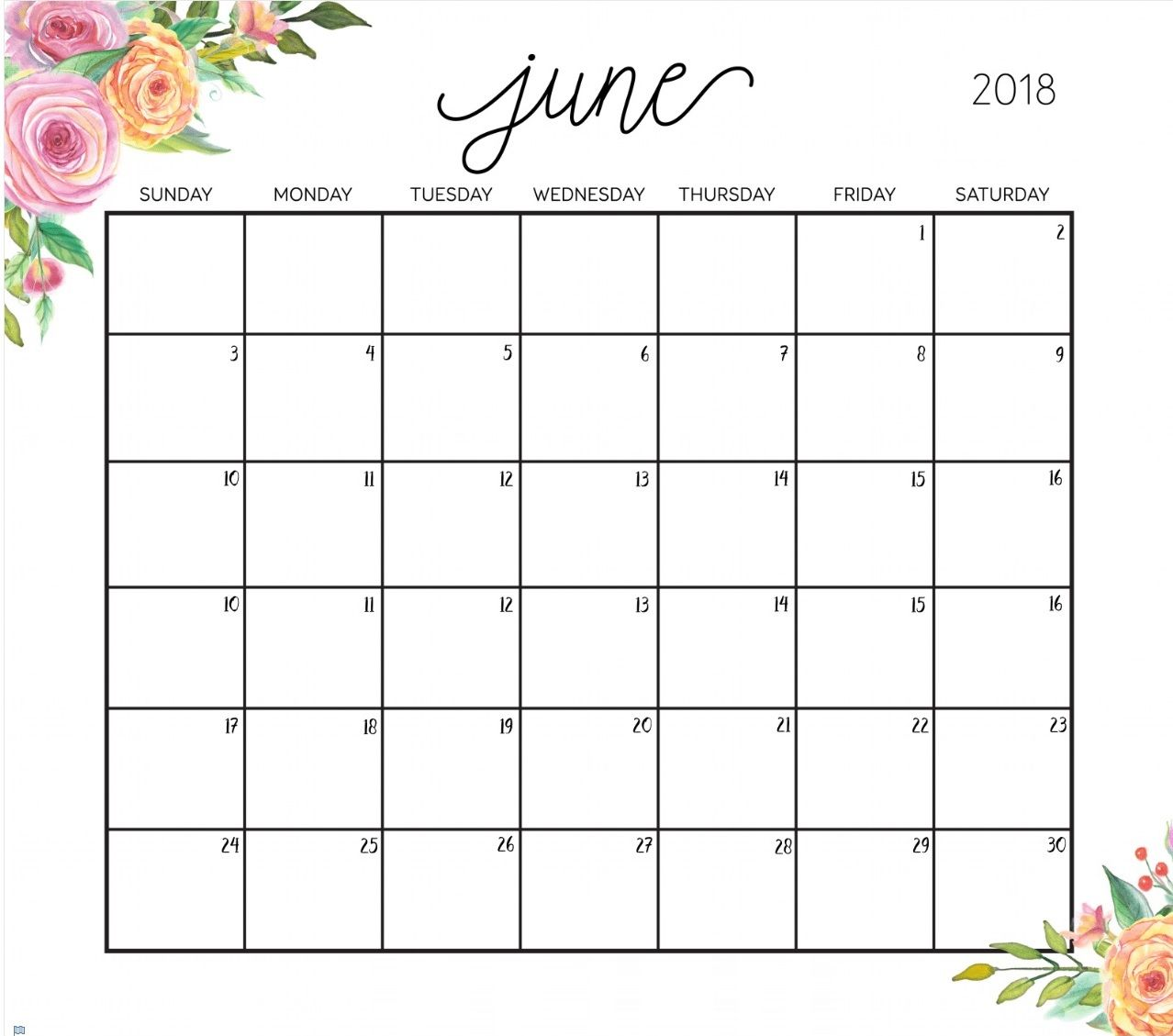 Editable June 2018 Calendar With Images Planner Calendar Cute