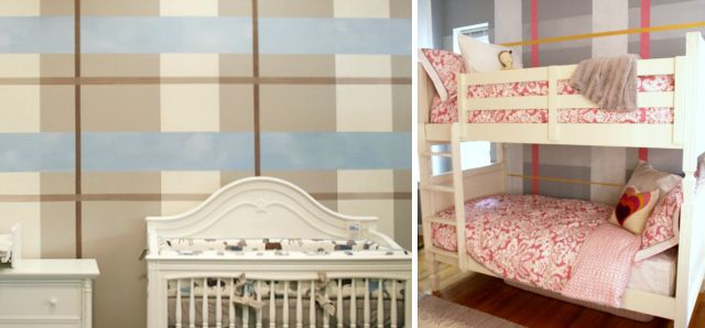 Diy how to paint a plaid accent wall nursery walls and for Elle decor nursery