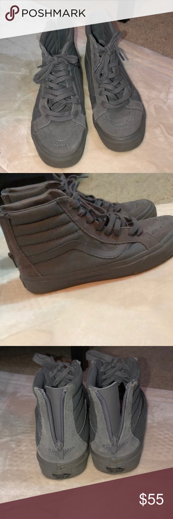 85f55b1e51 High top vans All grey high top vans with back zipper and shoe laces. In  great condition. Vans Shoes Sneakers