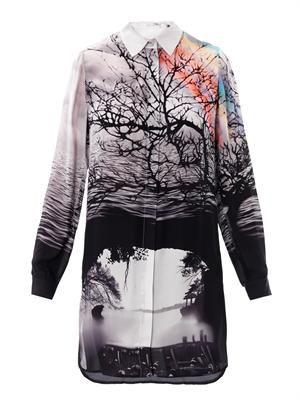 Caven tree silhouette-print silk dress Mary Katranzou