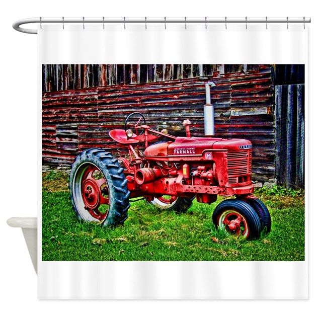 Red Tractor Hdr Style Shower Curtain By Digitalrealityart Red
